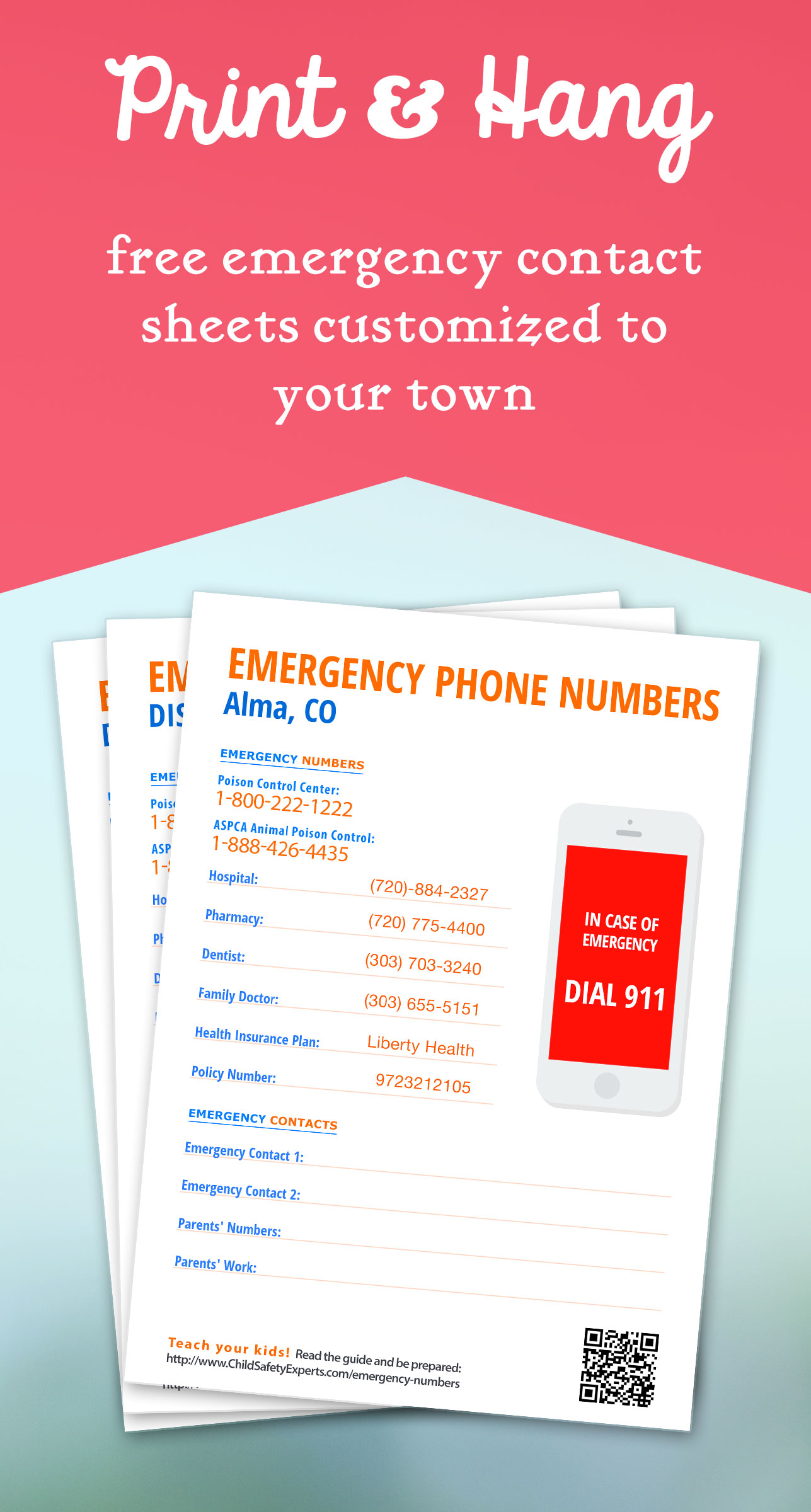 important phone numbers template