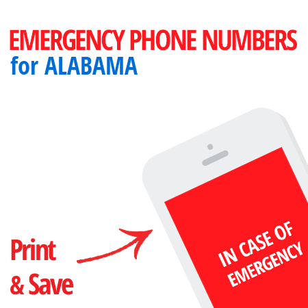 Important emergency numbers in Alabama