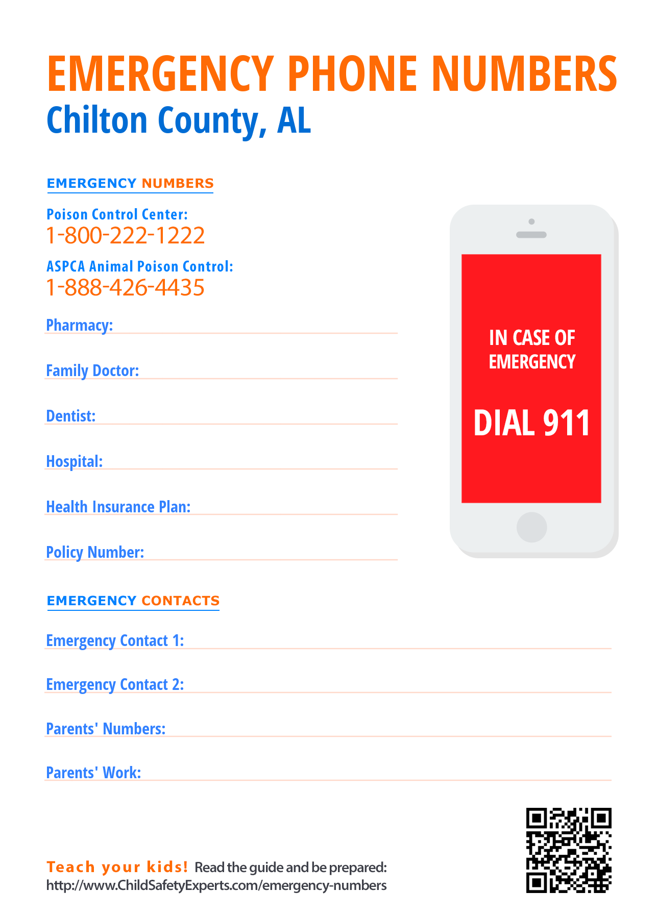 Important emergency phone numbers in Chilton County, Alabama