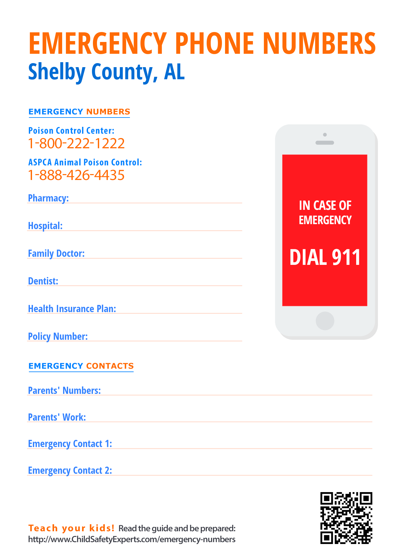 Important emergency phone numbers in Shelby County, Alabama