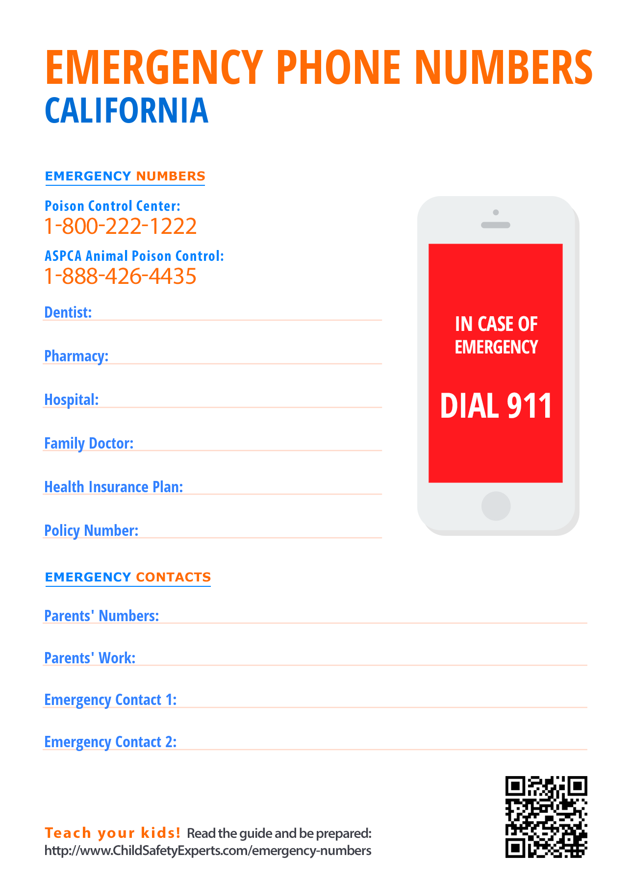 Important emergency phone numbers in California