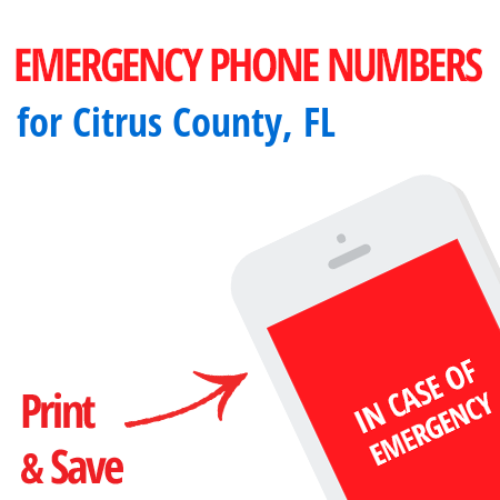 Important emergency numbers in Citrus County, FL
