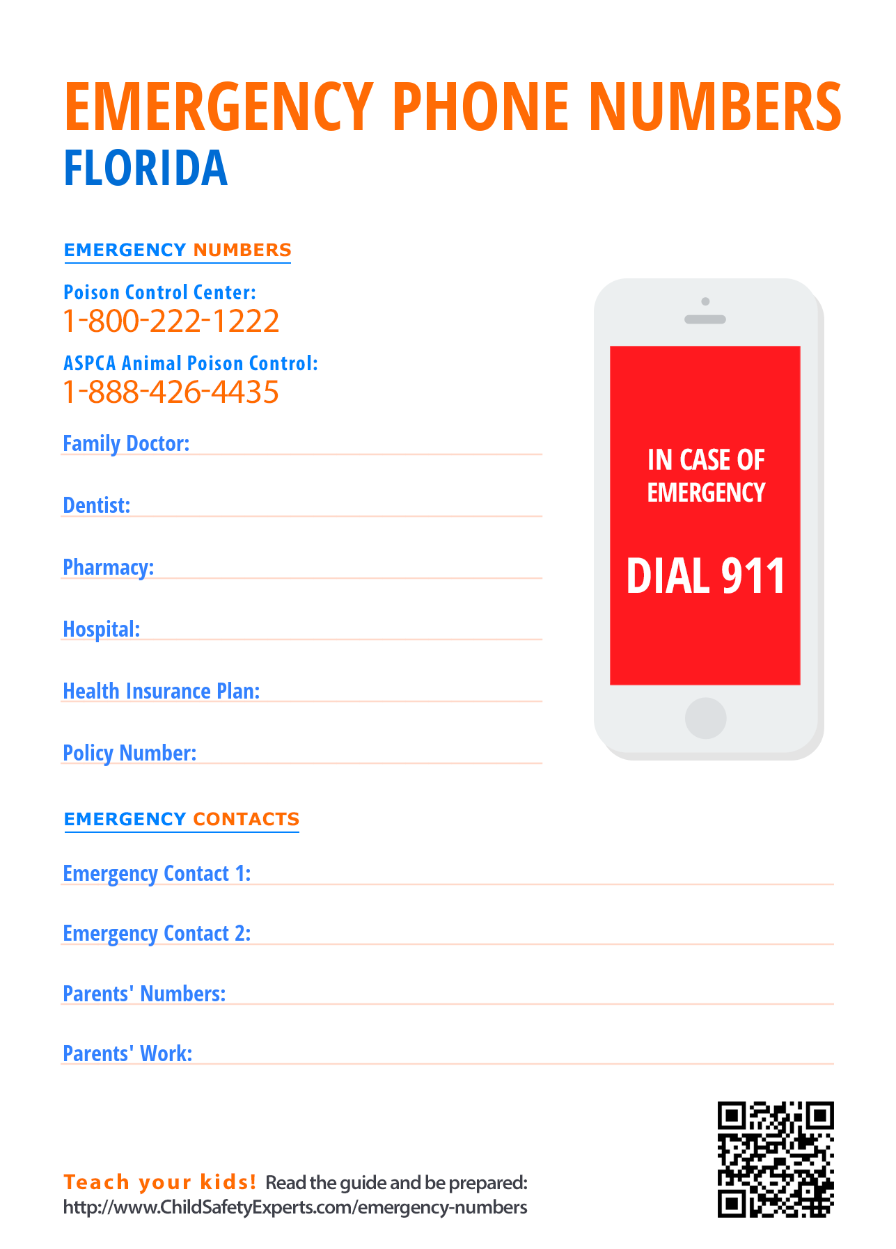 Important emergency phone numbers in Florida