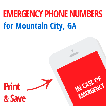 Important emergency numbers in Mountain City, GA