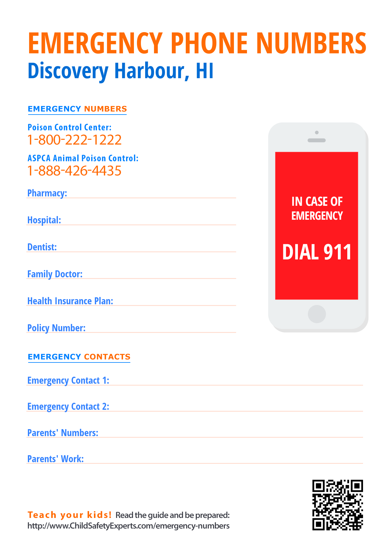 Important emergency phone numbers in Discovery Harbour, Hawaii