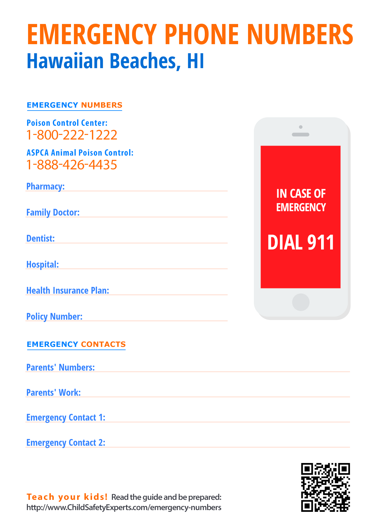 Important emergency phone numbers in Hawaiian Beaches, Hawaii