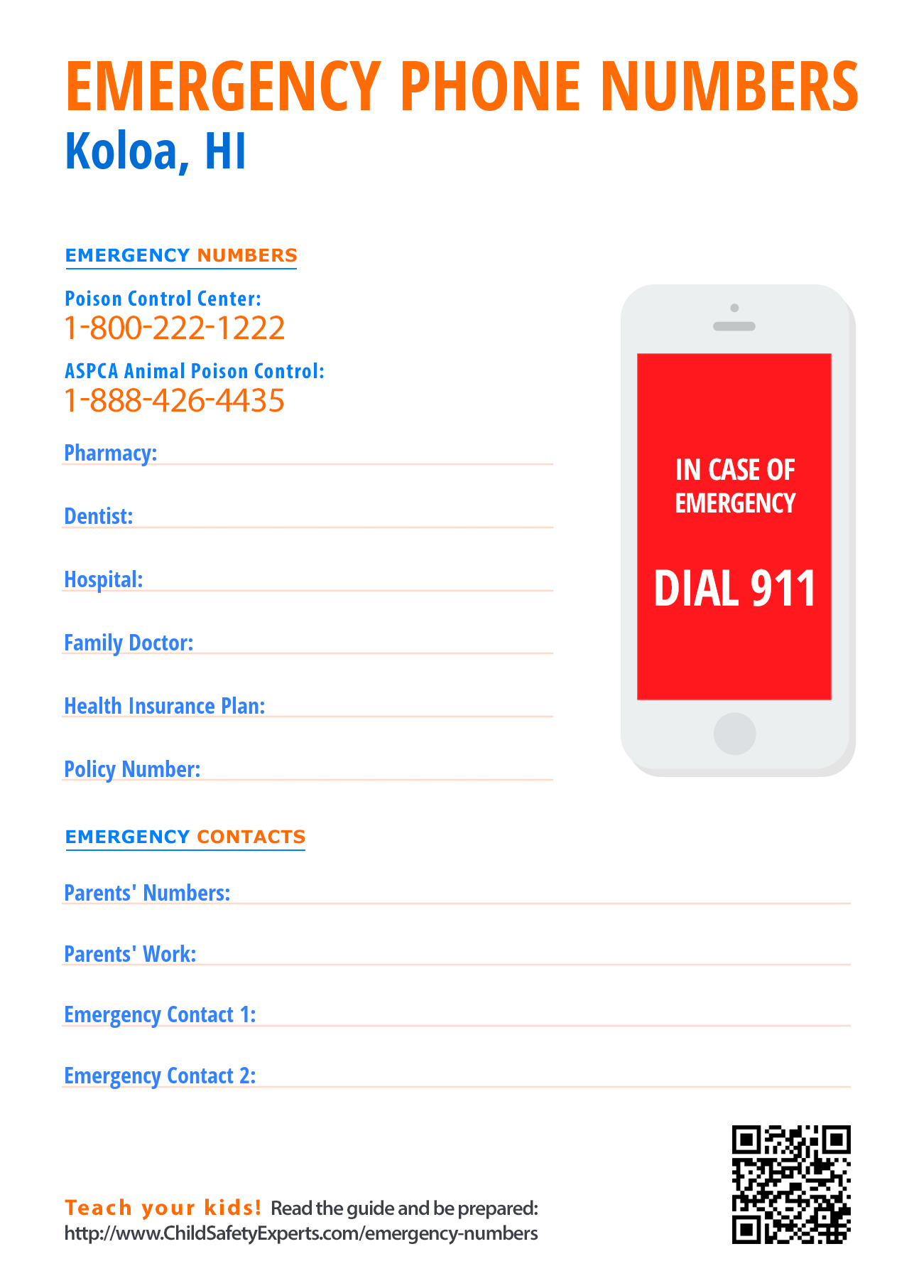 Important emergency phone numbers in Koloa, Hawaii