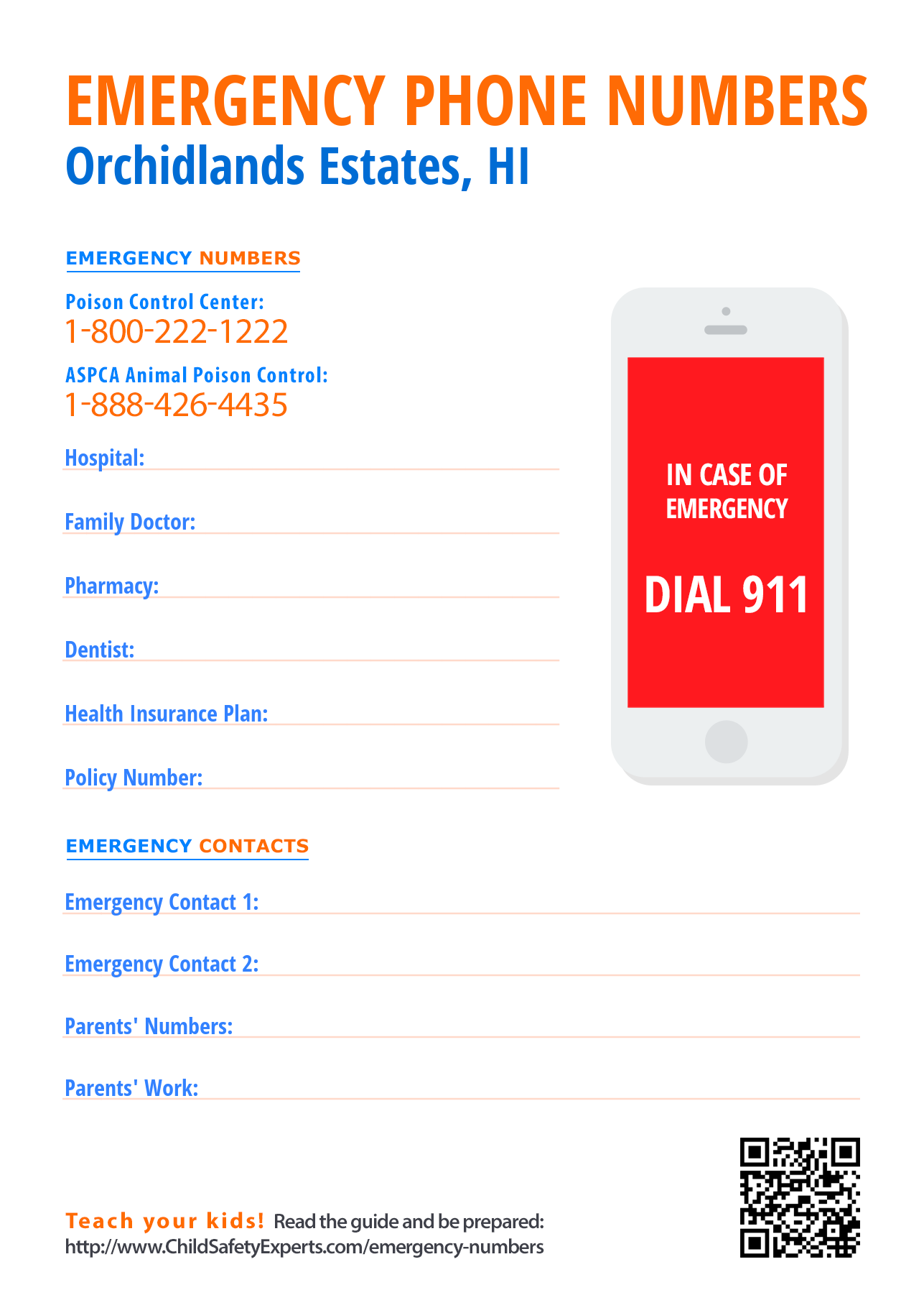 Important emergency phone numbers in Orchidlands Estates, Hawaii