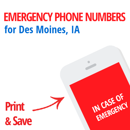 Important emergency numbers in Des Moines, IA