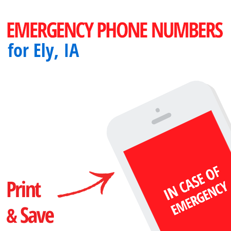 Important emergency numbers in Ely, IA