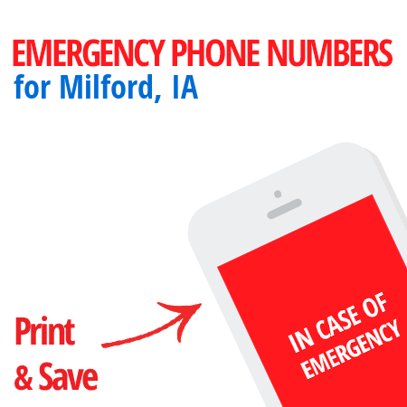 Important emergency numbers in Milford, IA