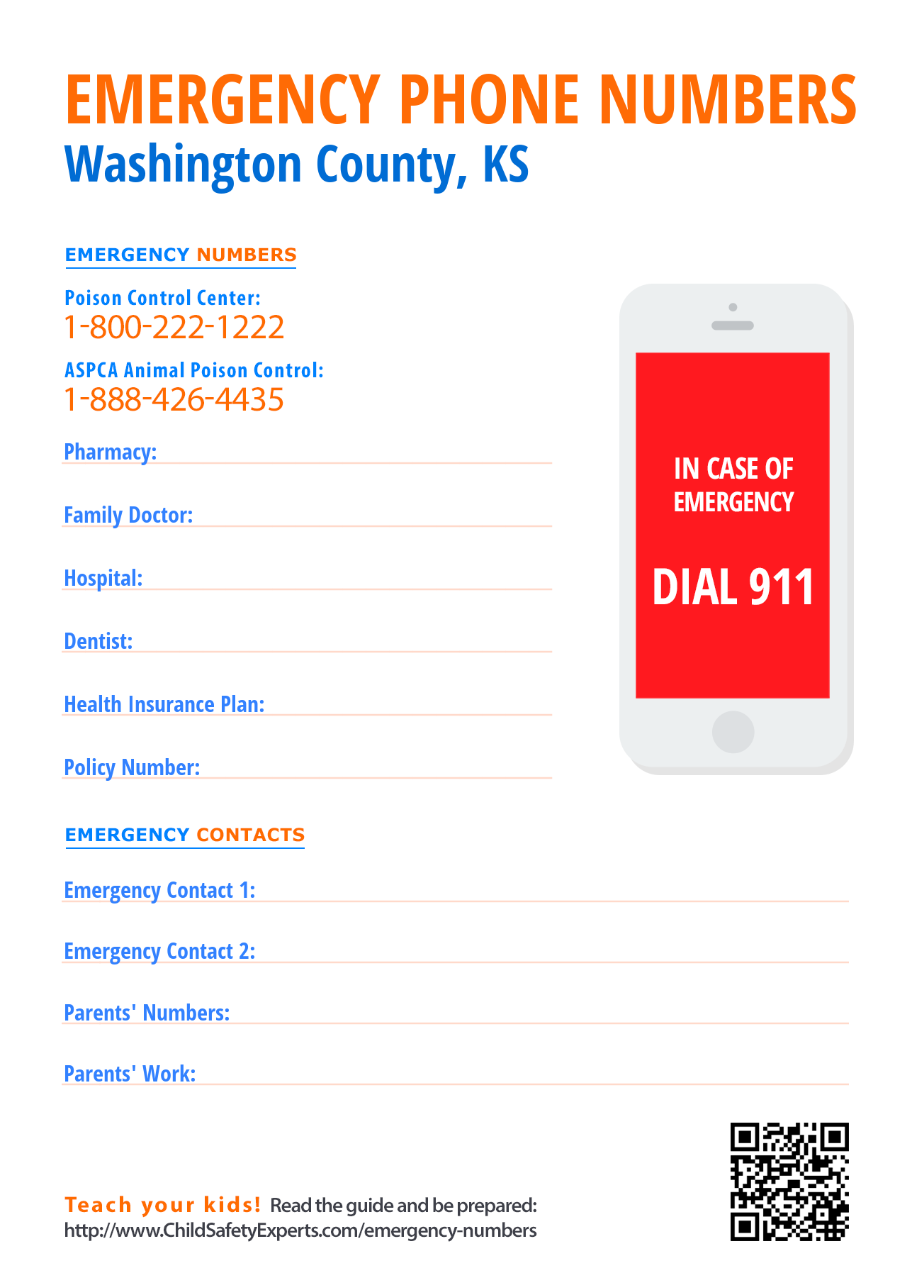Important emergency phone numbers in Washington County, Kansas