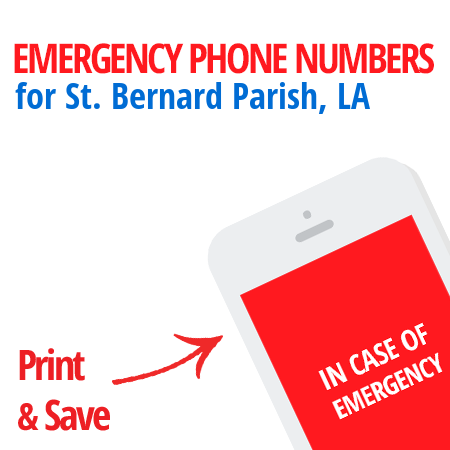 Important emergency numbers in St. Bernard Parish, LA