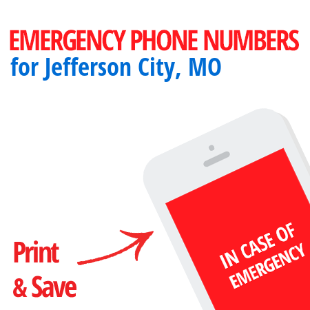 Important emergency numbers in Jefferson City, MO