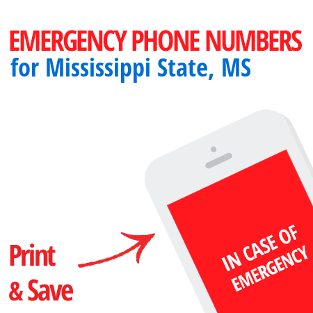 Important emergency numbers in Mississippi State, MS