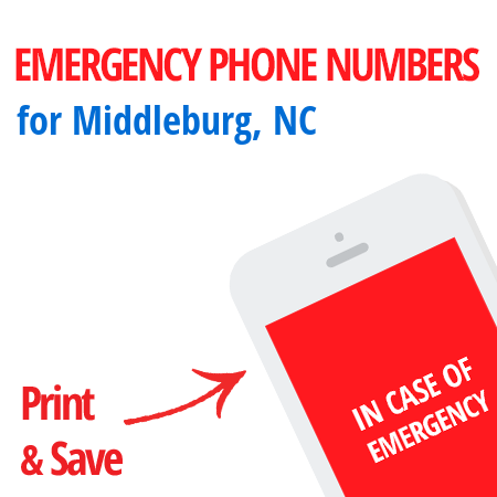 Important emergency numbers in Middleburg, NC