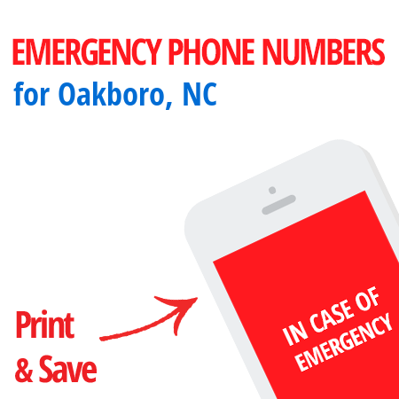 Important emergency numbers in Oakboro, NC