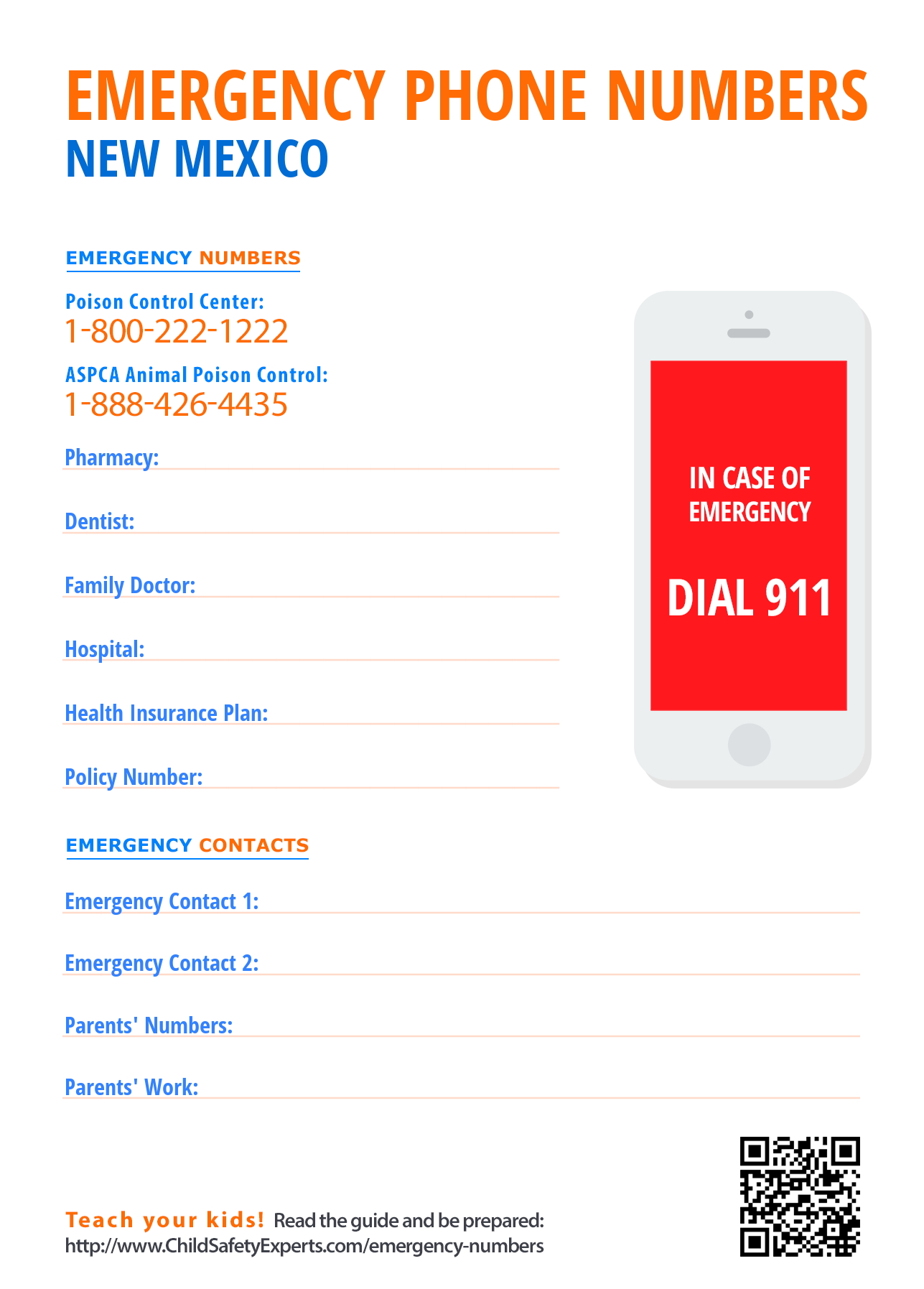 Important emergency phone numbers in New Mexico