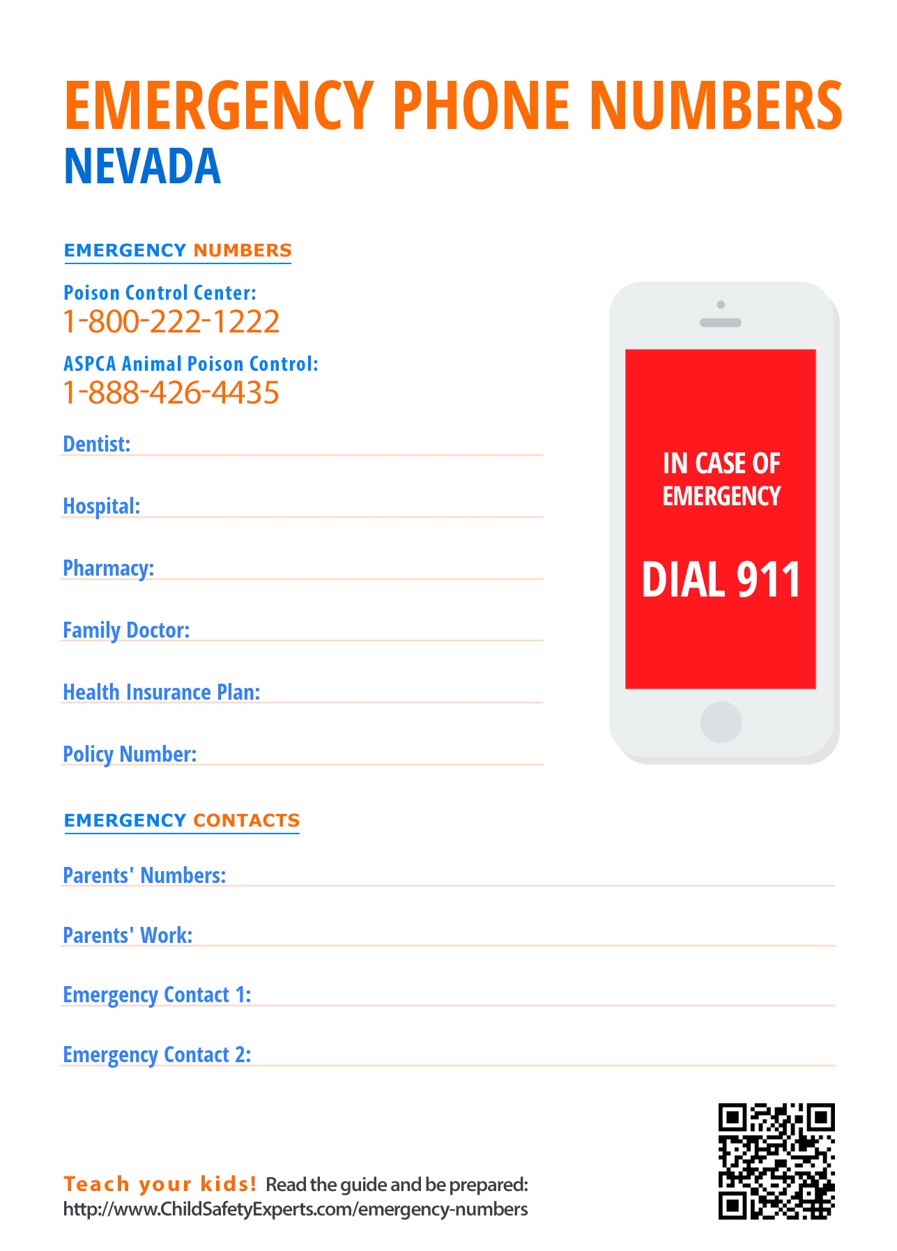 Important emergency phone numbers in Nevada