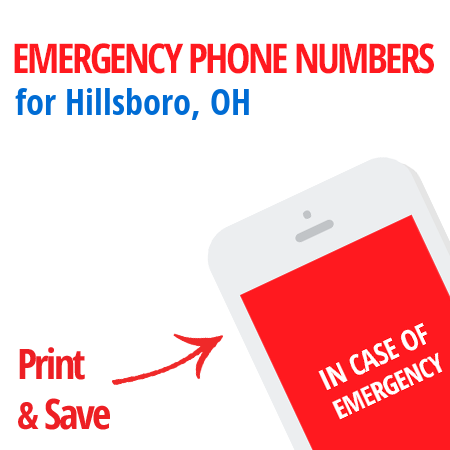 Important emergency numbers in Hillsboro, OH