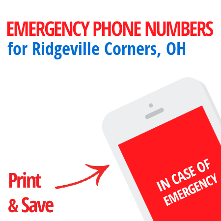 Important emergency numbers in Ridgeville Corners, OH