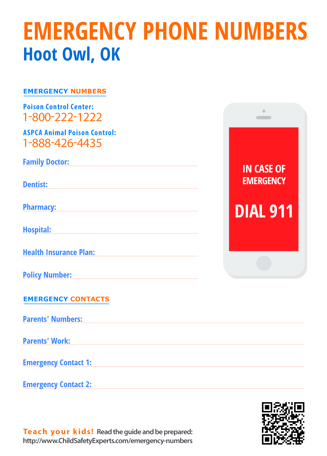 Important emergency phone numbers in Hoot Owl, Oklahoma
