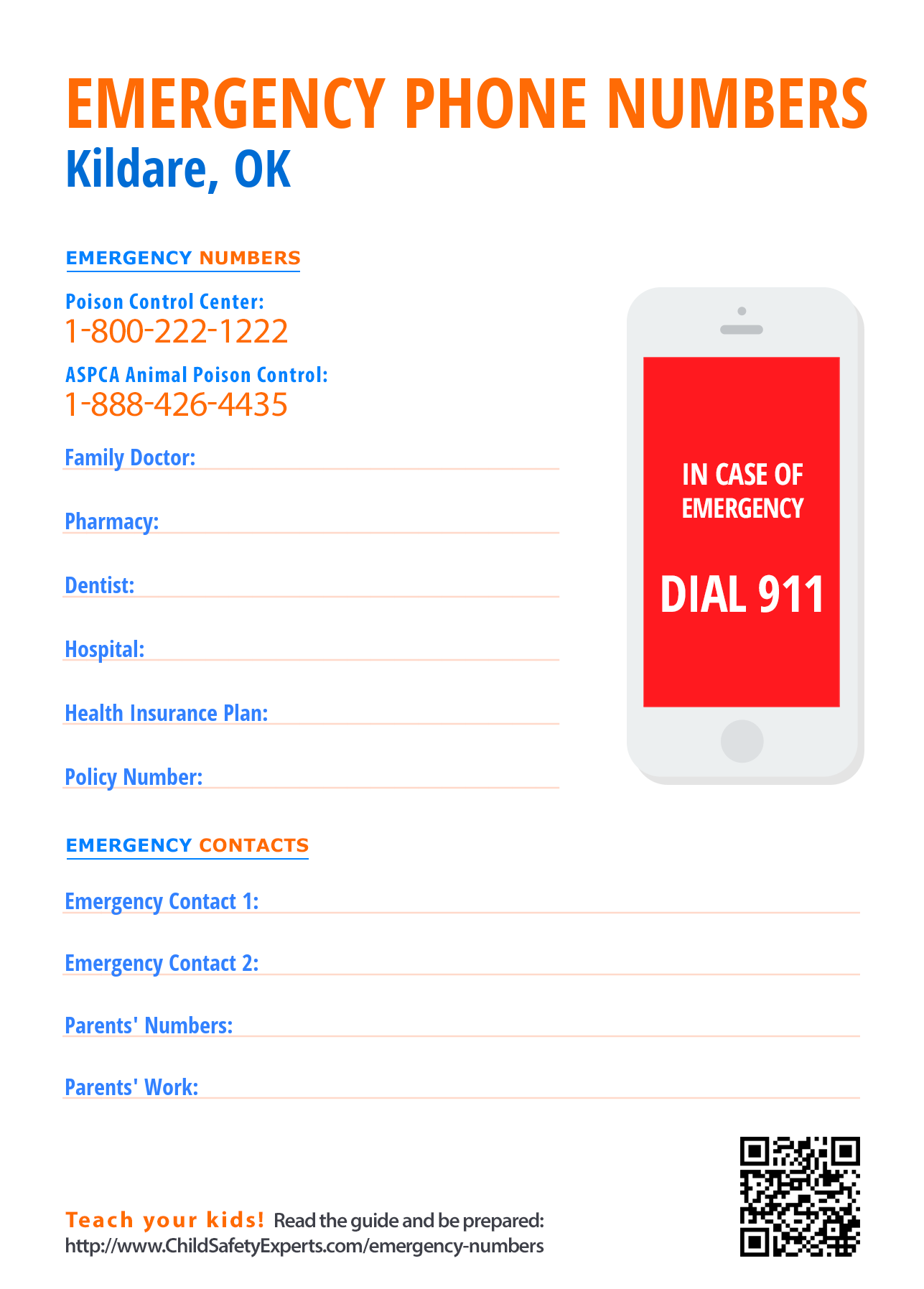 Important emergency phone numbers in Kildare, Oklahoma