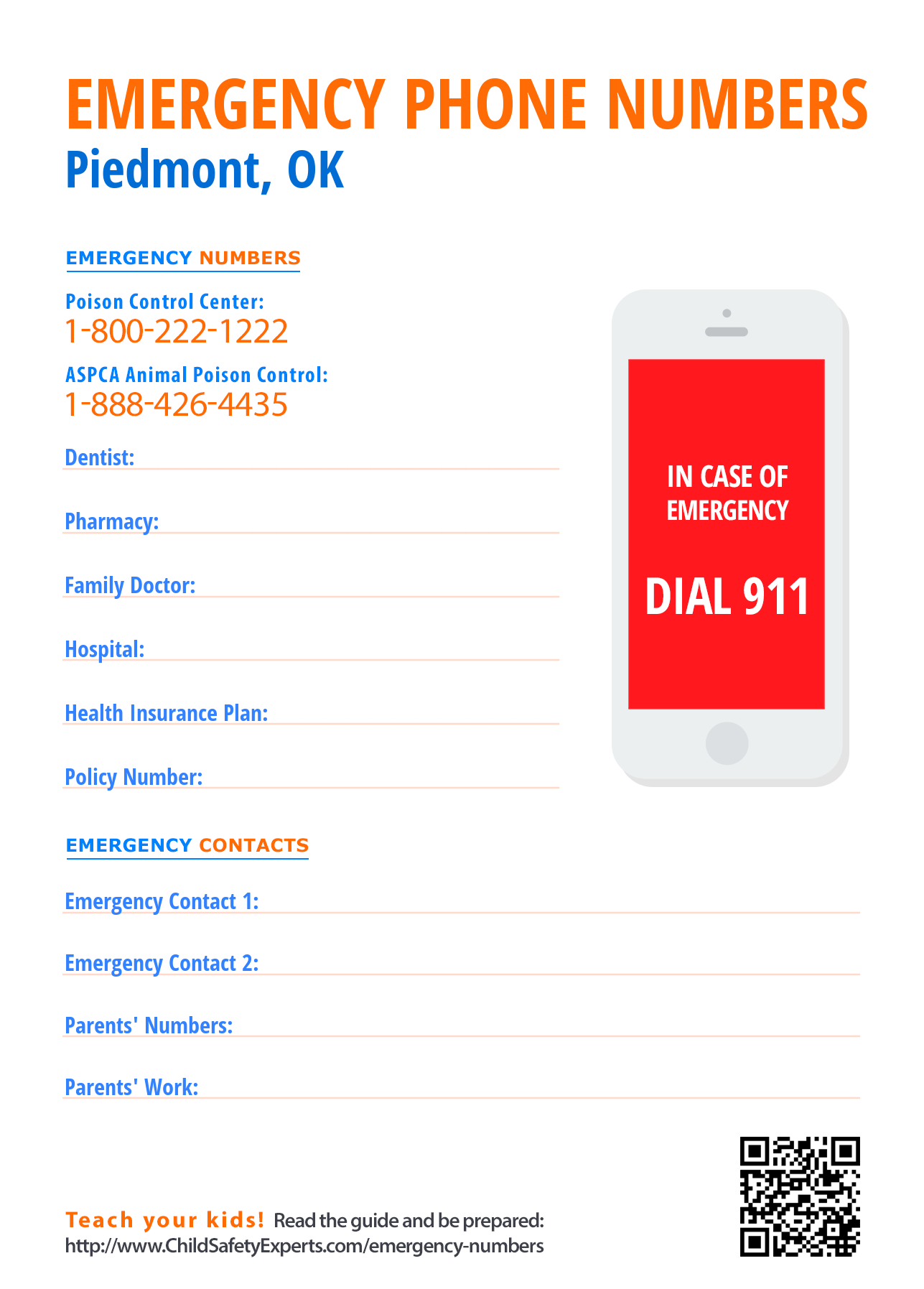 Important emergency phone numbers in Piedmont, Oklahoma