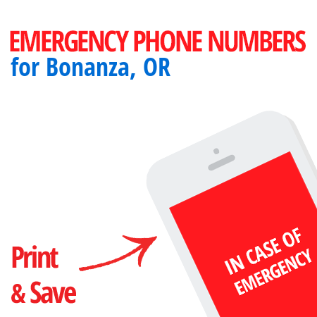 Important emergency numbers in Bonanza, OR