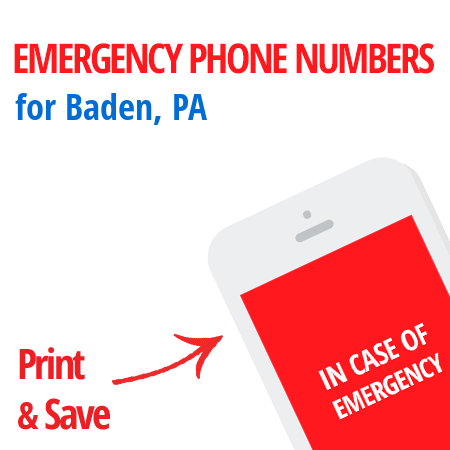 Important emergency numbers in Baden, PA
