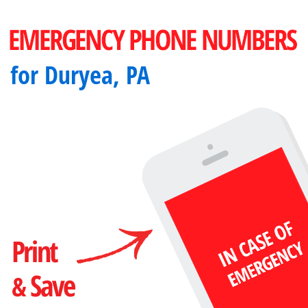Important emergency numbers in Duryea, PA