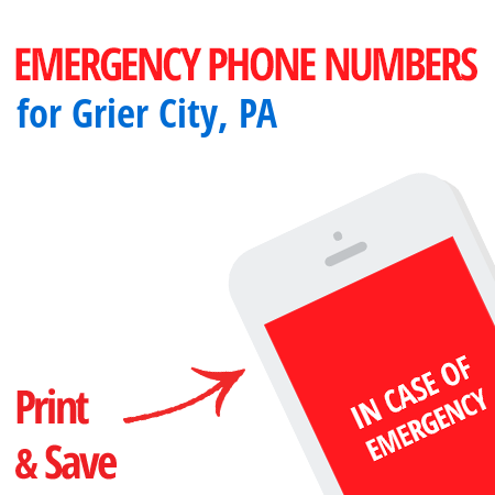 Important emergency numbers in Grier City, PA