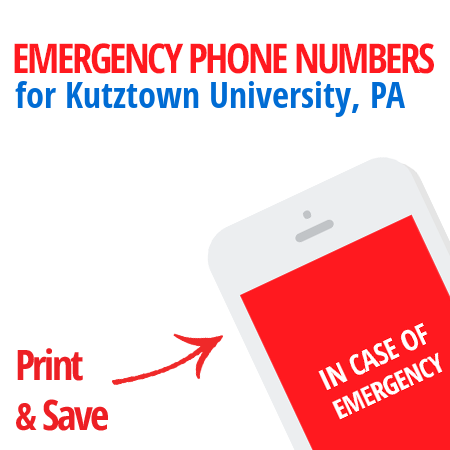 Important emergency numbers in Kutztown University, PA