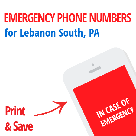 Important emergency numbers in Lebanon South, PA