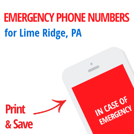 Important emergency numbers in Lime Ridge, PA