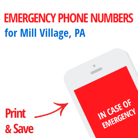 Important emergency numbers in Mill Village, PA