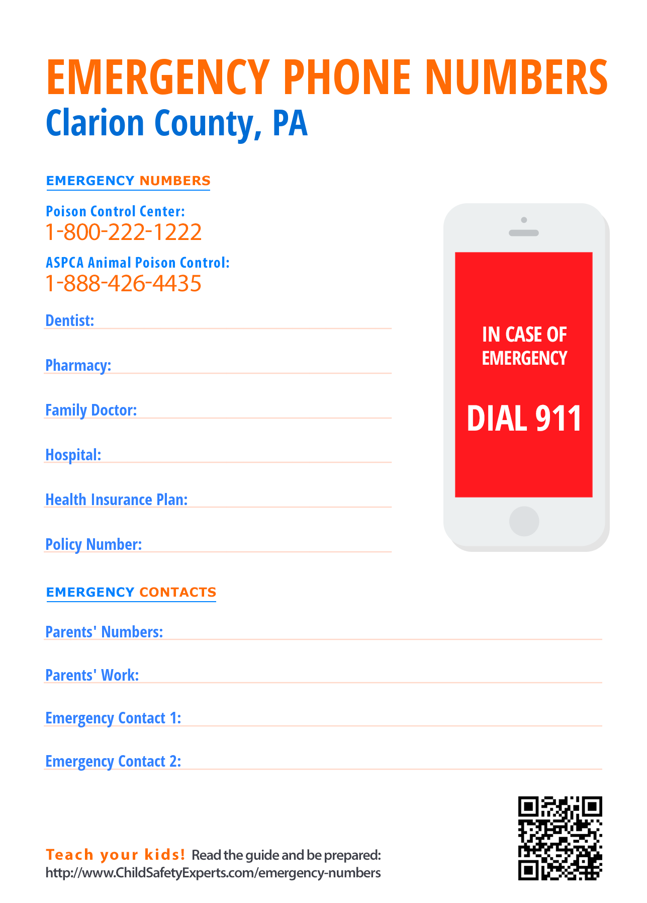 Important emergency phone numbers in Clarion County, Pennsylvania