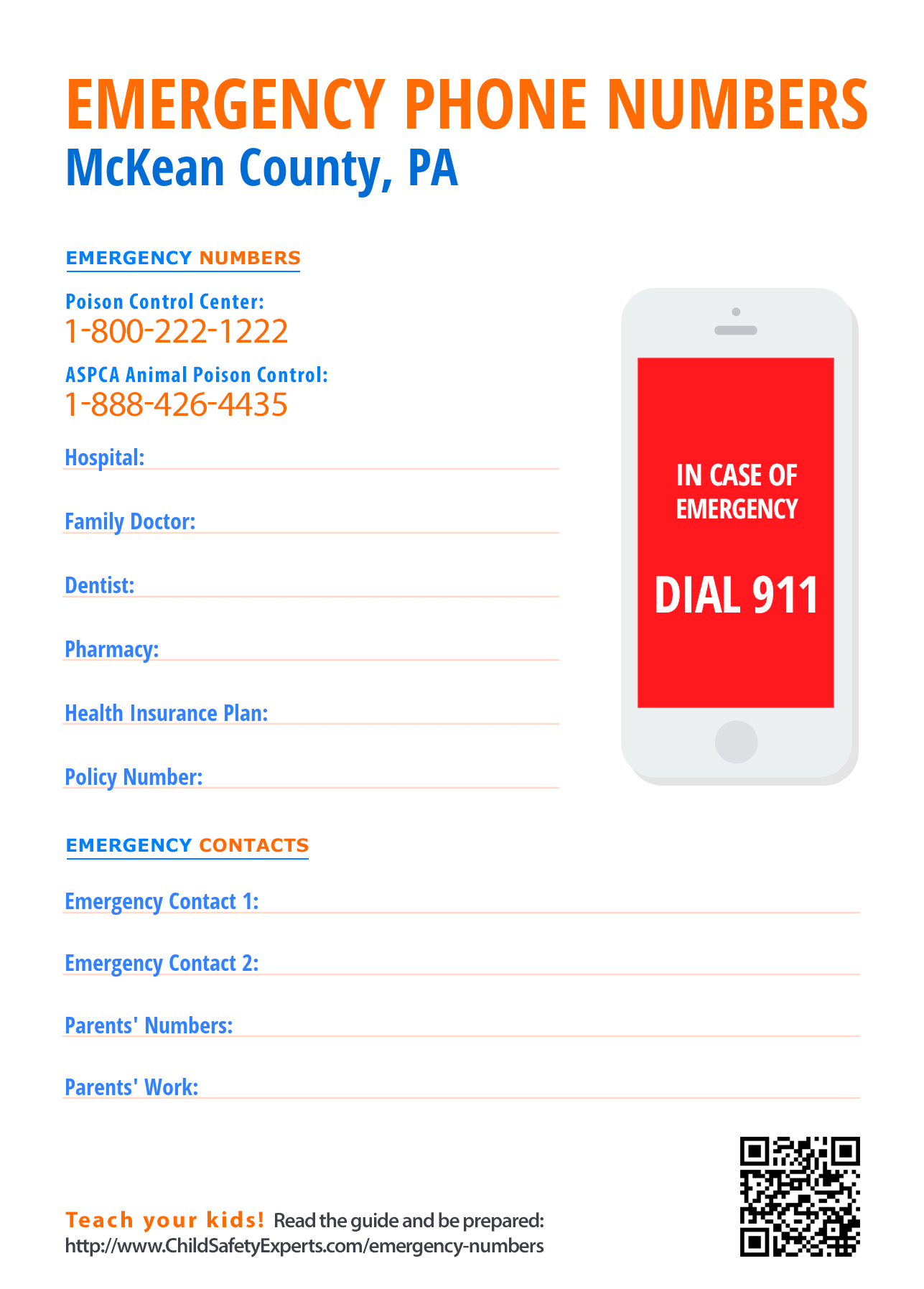 Important emergency phone numbers in McKean County, Pennsylvania