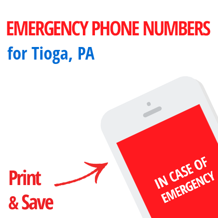 Important emergency numbers in Tioga, PA