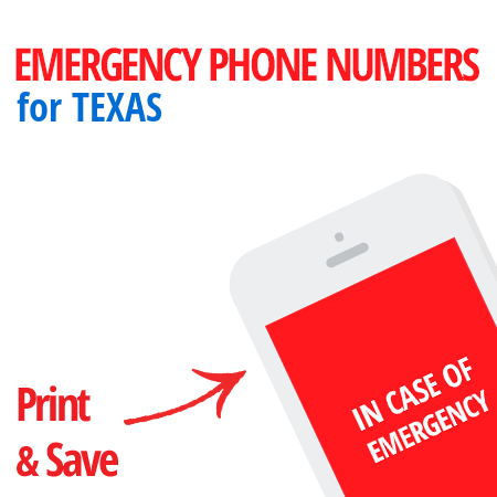 Important emergency numbers in Texas
