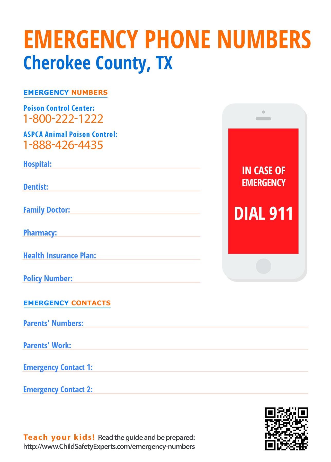 Important emergency phone numbers in Cherokee County, Texas