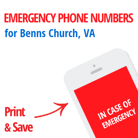 Important emergency numbers in Benns Church, VA