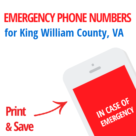 Important emergency numbers in King William County, VA