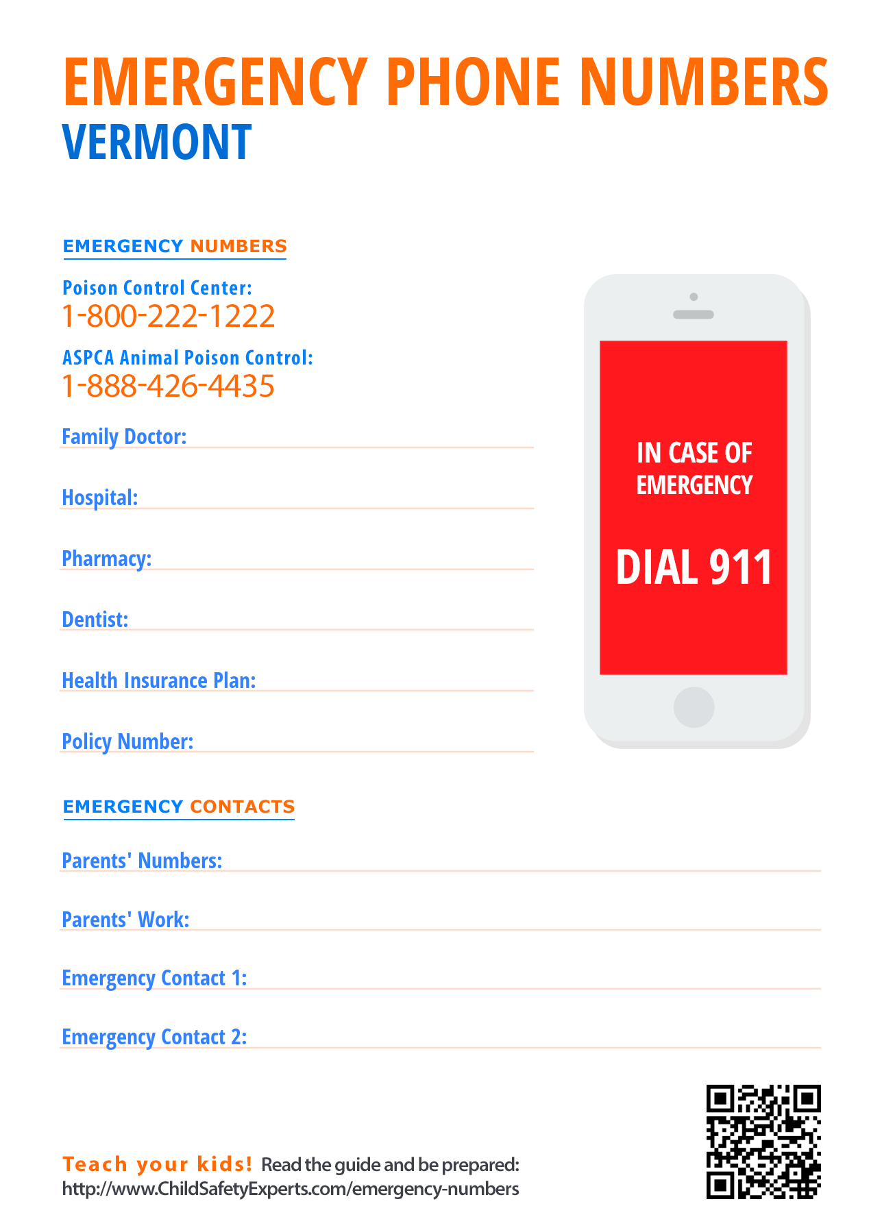 Important emergency phone numbers in Vermont