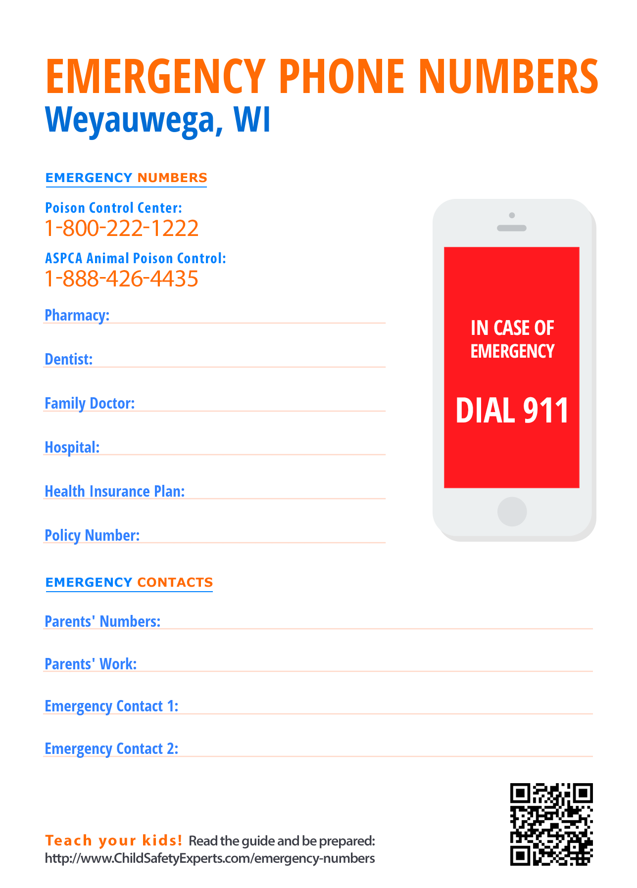 Important Emergency Phone Numbers - Print and hang on the fridge