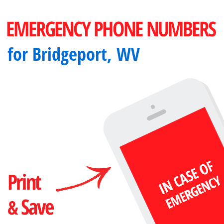 Important emergency numbers in Bridgeport, WV
