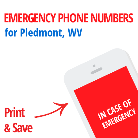 Important emergency numbers in Piedmont, WV