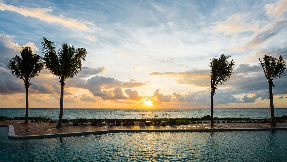 Andaz Mayakoba Pool Sunset